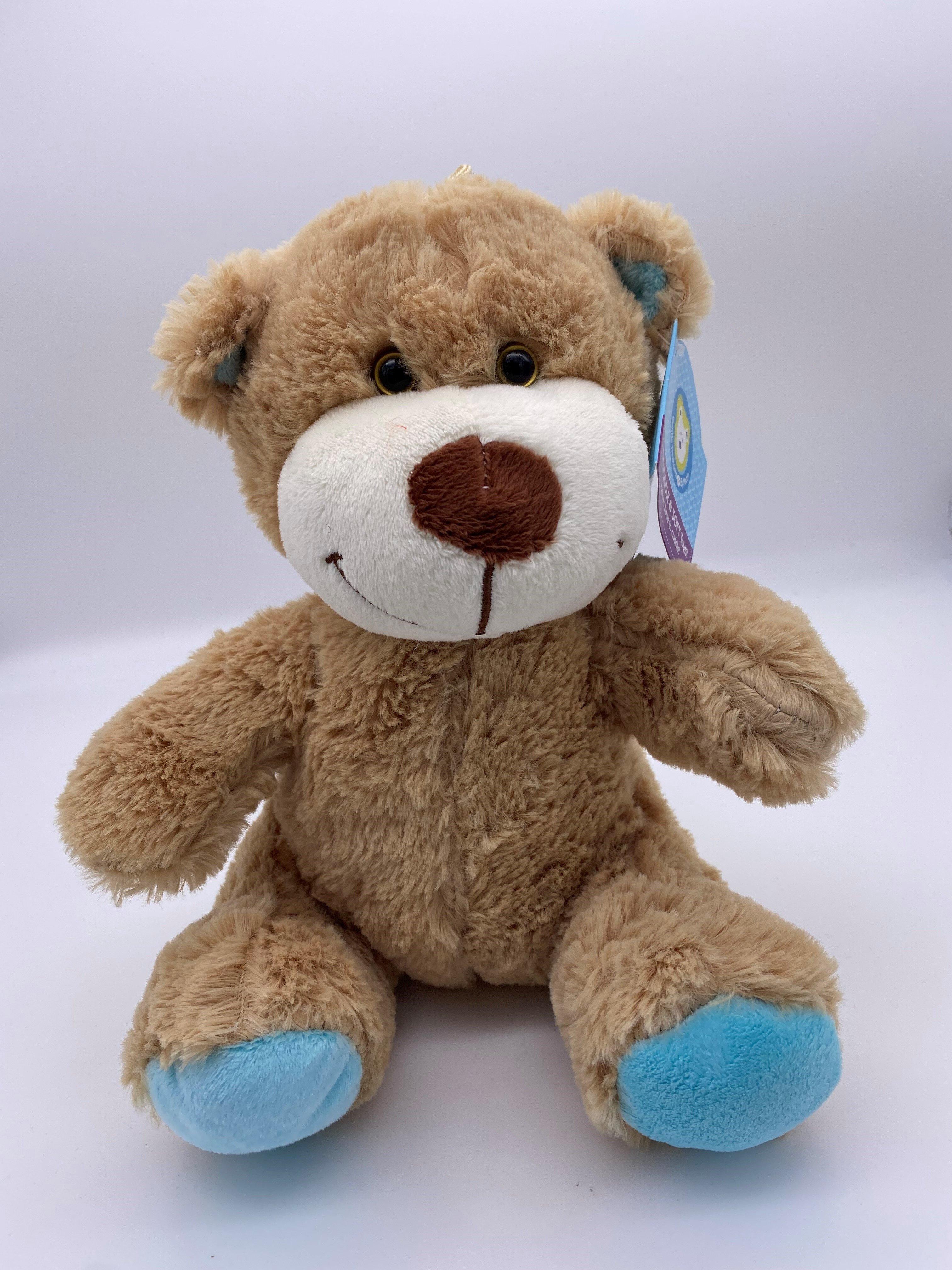 BEAR BROWN  22cm BLUE FEET AND EARS