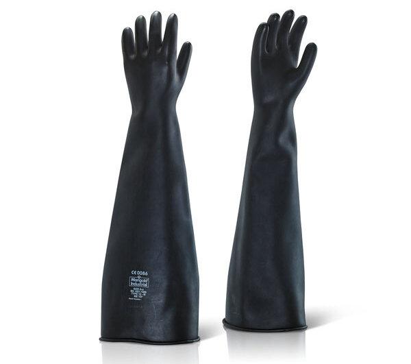 """Black Rubber Gauntlet Glove Medium Weight 24"""" (60cm) (Pair)"""