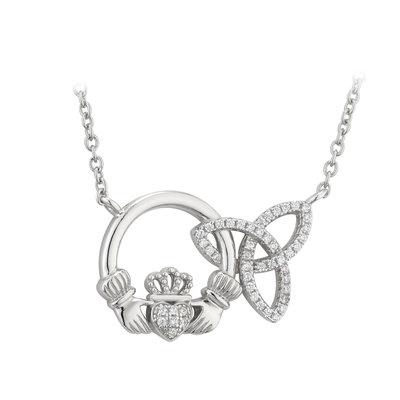 sterling silver interlocking claddagh trinity knot pendant s46038 from Solvar