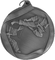 60mm Antique Silver Karate Medal