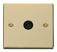 Click Deco Victorian Polished Brass with Black Insert Single Coaxial Socket | LV0101.0192