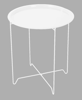 Foldable Metal end table dia 45xh52cm (mixed box of 6 Blk & Whit