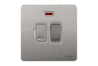 Schneider Ultimate Screwless Switched Fuse Spur with neon Stainless Steel white|LV0701.0945