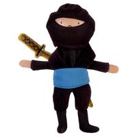 Blue Ninja Wooden Head Finger Puppet.