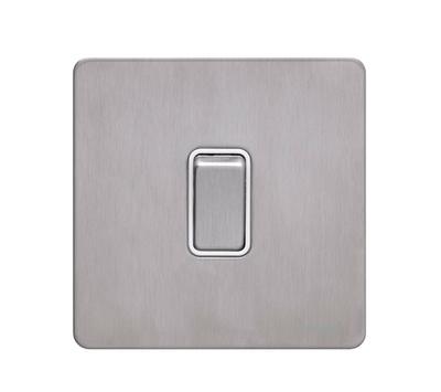 Schneider Ultimate Screwless 1g 2way Switch Stainless Steel white|LV0701.0898