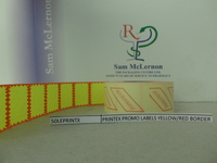 PRINTEX PROMO LABELS YELLOW/RED BORDER