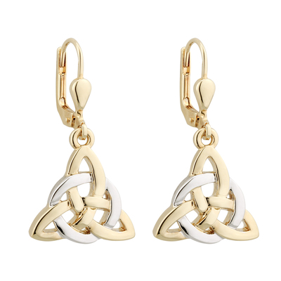 TWO TONE PLATED CELTIC TRINITY KNOT DROP EARRINGS