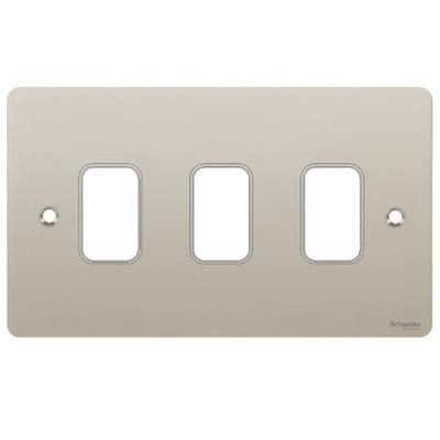 Switch Ultimate 3 Gang Flat Plate Pearl Nickel