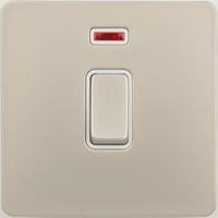 Schneider Ultimate Screwless 20Amp Double Pole Switch + Neon Pearl Nickel white|LV0701.0921