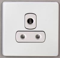 DETA Screwless 1 Gang 5 Amp Socket White Metal White Insert | LV0201.0031