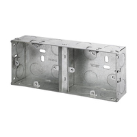 2 Gang 35mm Dual Metal Socket Box