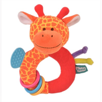 Orange giraffe teether toy for babies