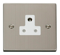 Click Deco Victorian Stainless Steel with White Insert 5 Amp Socket | LV0101.0109