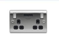 NEXUS SOCKET, SWITCHED 2 GANG C/W 2 USB 3.1A , BLACK INSERT