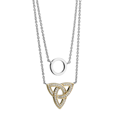 S/S & GP CRYSTAL TRINITY CIRCLE NECKLET