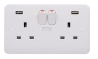 LISSE 2 GANG 13A SWITCHED SOCKET 2 X USB OUTLETS
