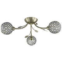 Bellis Ii Antique Brass 3 Light Fitting With Clear Glass Shades