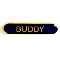 Buddy - Bar Shaped School Badge (Blue)