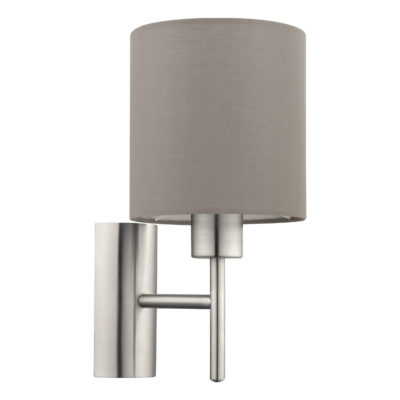 EGLO Satin Nickel and Taupe Shade Wall Light Round IP20 | LV1902.0105
