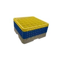 Glass Rack 36 Compartment with 4 Yellow Extenders