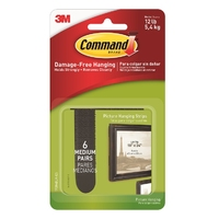 Command Medium Picture Hanging Strips Black 6 Pk 17204BLK
