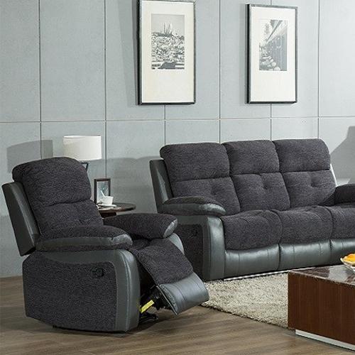 Kin Two Tone Grey Reclining Armchair in room setting
