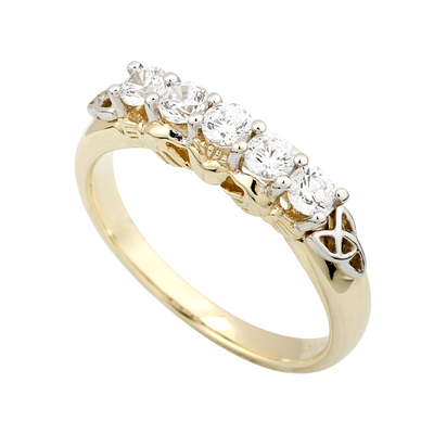10K CZ CLADDAGH ETERNITY RING(BOXED)