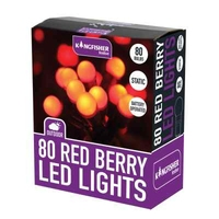 KINGFISHER 80 RED BERRY LED CHRISTMAS LIGHTS