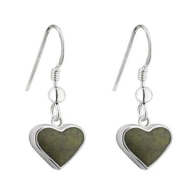 sterling silver connemara marble heart drop earrings s34017 from Solvar