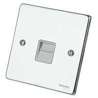 Schneider Ultimate Low Profile Phone Point Polished Chrome with White Insert | LV0701.0237