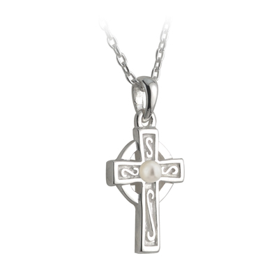 RHODIUM PLATED PEARL CROSS COMMUNION PENDANT