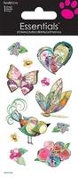 Bird Butterfly Flower Sticker. (Priced in singles, order in multiples of 12)