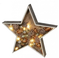 LED WOODEN STAR WITH XMAS BAUBLES GOLD AND COPPER  COMES WITH BATTERIES  006X04002