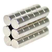 NEODYMIUM MAGNETS | CYLINDER 10X7MM N35 NICKEL