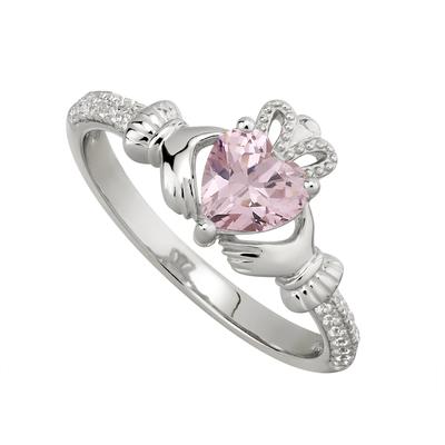 ROSE CLADDAGH RING (OCTOBER BIRTHSTONE)