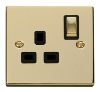 Click Deco Victorian Polished Brass with Black Insert Single switched Socket | LV0101.0180