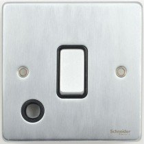 Schneider Ultimate Low Profile 20Amp Double Pole switch with Flex outlet Brushed Chrome with Black Insert | LV0701.0223