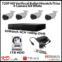4 Camera CCTV 720p Varifocal Bull Kit - White