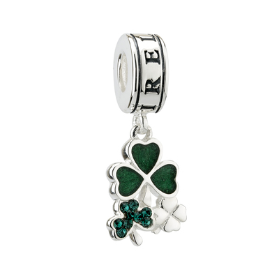 S/S ENAMEL & CRYSTAL SHAMROCK DANGLE BEAD