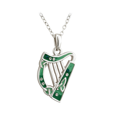 SILVER PLATED ENAMEL & CRYS HARP PENDANT (LF)
