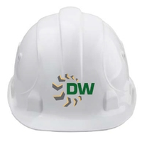 Dempsey Wood V9 Ratchet Hard Hat White C/W Green/Grey/Yellow Screen Print Logo & Vistor on the Back