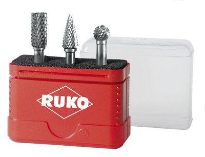 Ruko 3Pieces Set TC Rotary Burrs 10mm Shapes A G D