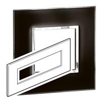 Arteor (British Standard) Plate 8 Module Square Mirror Black | LV0501.2858
