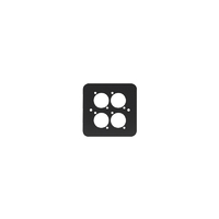 Penn Elcom Single Gang 4 x D Type Wall Plate, Black (82511-4RC)