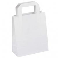 "Flat Handle Carrier Bag White 10"" x 15.5"" x 12.5"""