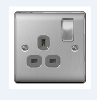 NEXUS BRUSHED STEEL 13A 1 GANG DOUBLE POLE SWITCHED SOCKET GREY