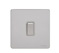 Schneider Ultimate Screwless 1g 2way Switch Polished Chrome white|LV0701.0896
