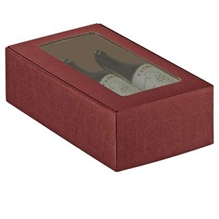 2 Bottle Burgundy Wine Box with window.
