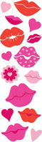 Lips & Hearts Sticker Puffy Fuzzy. (Priced in singles, order in multiples of 12)