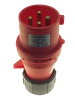 POWERMASTER 32 AMP 380V 3 PIN + EARTH RED PLUG